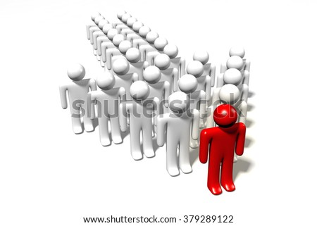 3D leader concept - cartoon characters standing in arrow shape. - stock photo