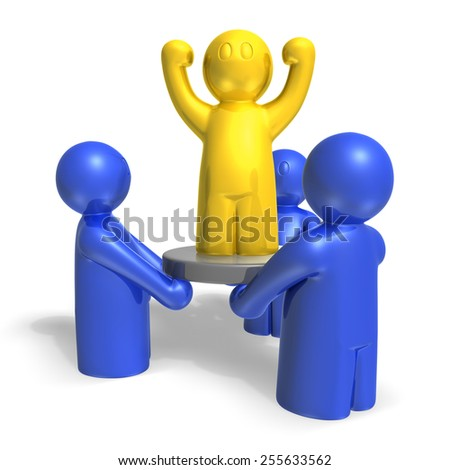 3d leader man on disk supporting by other mans on white background, isolated - stock photo