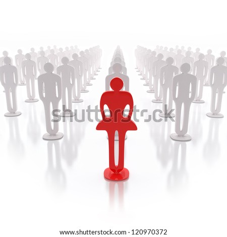 3D leader of a team, standing in front of them - stock photo