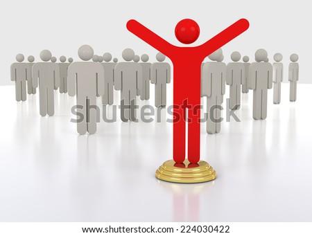 3D Leader of Business Team Group. Leadership Teamwork Concept. - stock photo