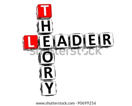 3D Leader Theory Crossword on white background - stock photo