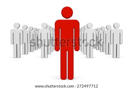 3D. Leadership, Standing Out From The Crowd, People.