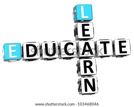 3D Learn Educate Crossword on white background