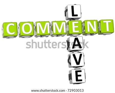 3D Leave Comment Crossword on white background