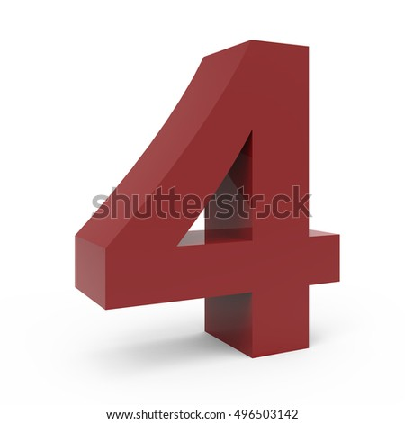 3d left leaning crimson number 4, 3D rendering graphic isolated white background
