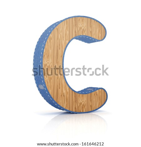 3d letter C from scrapbook alphabet collection isolated on white - stock photo
