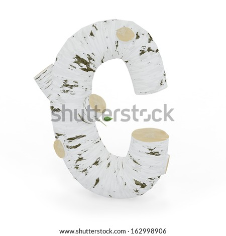 3D letter C from wooden birch collection isolated on white - stock photo