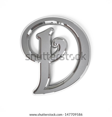 3d letter D whit metal surface isolated on a white background - stock photo