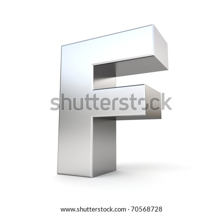 3d letter F from my metal letter collection - stock photo