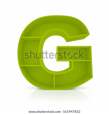 3d letter G from furniture alphabet collection isolated on white - stock photo