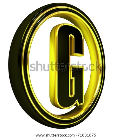3D Letter g in circle. Black gold metal - stock photo