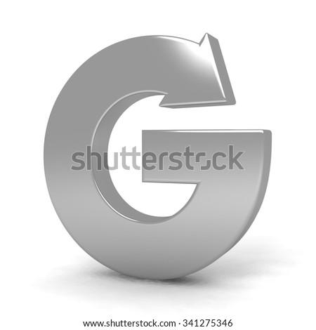 3d letter G metal arrow with silver arrow alphabet set - stock photo