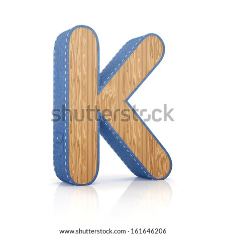 3d letter K from scrapbook alphabet collection isolated on white - stock photo