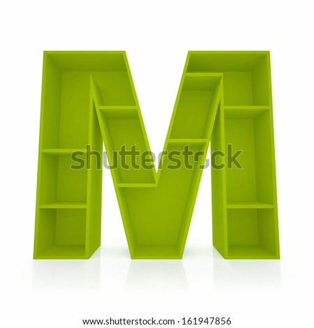 3d letter M from furniture alphabet collection isolated on white - stock photo