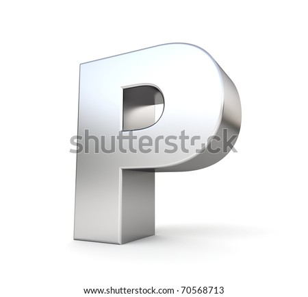 3d letter P from my metal letter collection - stock photo