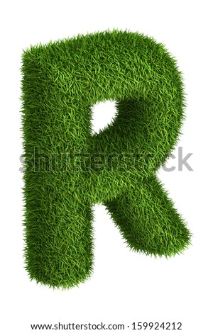 3D Letter R photo realistic isometric projection grass ecology theme on white