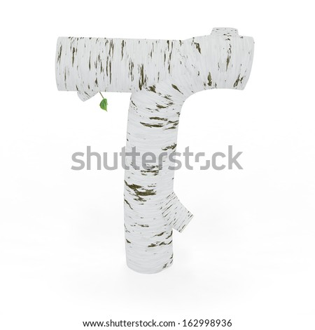 3D letter T from wooden birch collection isolated on white - stock photo