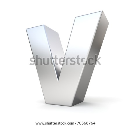 3d letter V from my metal letter collection - stock photo