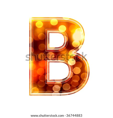 3d letter with glowing lights texture - stock photo