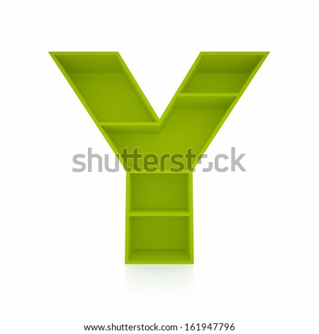 3d letter Y from furniture alphabet collection isolated on white - stock photo