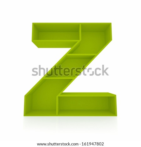 3d letter Z from furniture alphabet collection isolated on white - stock photo
