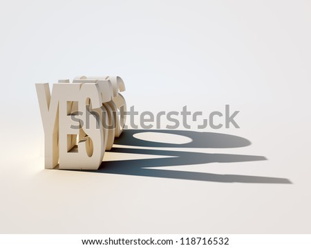 3D letters forming the word YES casting a contradicting shadow of the word NO. - stock photo