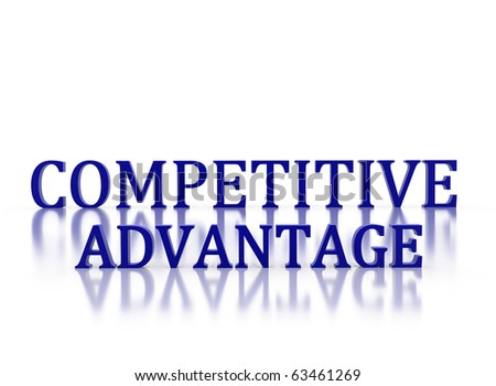 3d letters spelling Competitive Advantage in dark blue on white reflective background - stock photo
