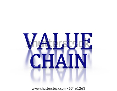 3d letters spelling Value Chain in dark blue on white reflective background