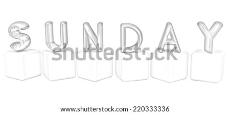 "3d letters ""Sunday"" on white cubes on a white background. Pencil drawing  - stock photo"