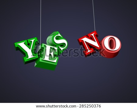 3D letters yes or no, green and red, concept, creative, design - stock photo