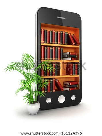 3d library smartphone, isolated white background, 3d image - stock photo