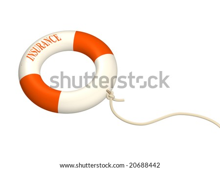 3d lifebuoy ring, adhered to a cord. Objects over white - stock photo