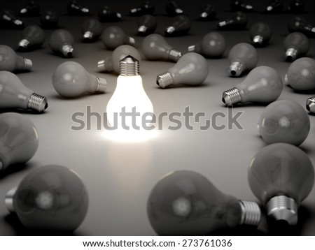3D. Light Bulb, Inspiration, Creativity. - stock photo