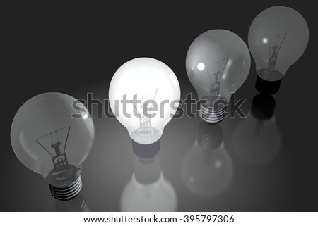 3D light-bulbs concept - great for topics like creativity, brainstorming etc.