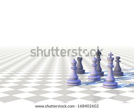 3d light chess background with chess pawns, strategy concept - stock photo