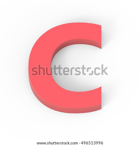 3d Light matte red font C, 3D rendering graphic isolated white background