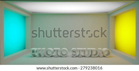 3d lightroom with the photostudio letters - stock photo
