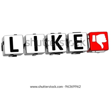 3D Like Hand Button cube text over white background - stock photo