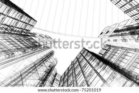 3d linear architecture - stock photo