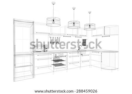 3d Linear Kitchen Interior