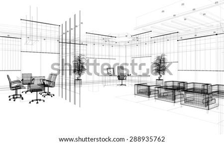 3d linear modern office interior - stock photo