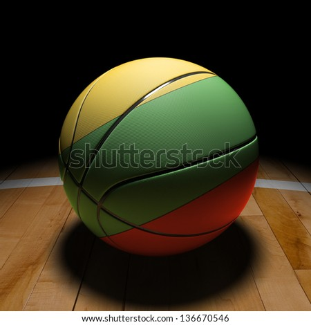 3D Lithuania basket ball with dramatic light on basketball court. - stock photo