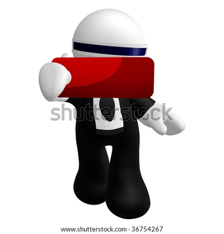 3d little businessman icon with blank tag sign
