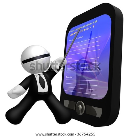 3d little businessman icon with organizer gadget - stock photo