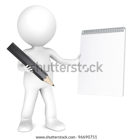 3D little human character holding a Blank notepad and a Black Pencil. Textured Paper. Copy Space. People series. - stock photo