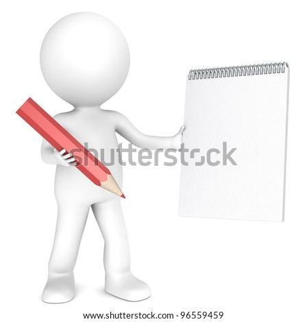 3D little human character holding a Blank Notepad and a Red Pencil. Textured Paper. Copy Space. People series. - stock photo