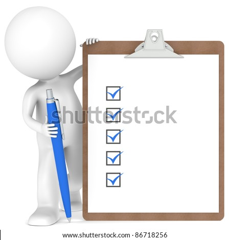 3D little human character holding a Clipboard with Checklist and a Pen. Blue color - stock photo