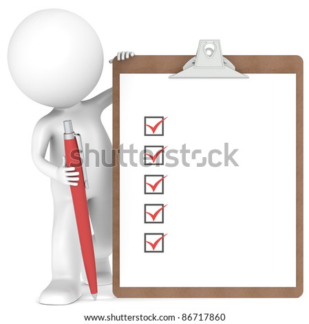 3D little human character holding a Clipboard with Checklist and a Pen. Red color - stock photo