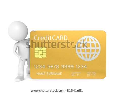 3D little human character holding a Gold Credit Card. Isolated. - stock photo
