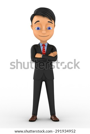 3d little human character The Boss standing with arms crossed - stock photo
